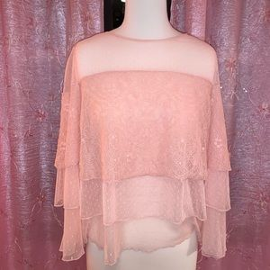 Stunning Ruffle Long Sleeved Lace Pink Top
